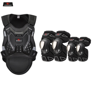 wosawe motorcross back protector skating snow body armour motorcycle spine guard moto jacket kneepads elbow guard moto armor WOSAWE Motorcycle Jacket Adult chest back protector Moto Armor Knee Guard Racing Body Protector Jacket Motocross protective Gear