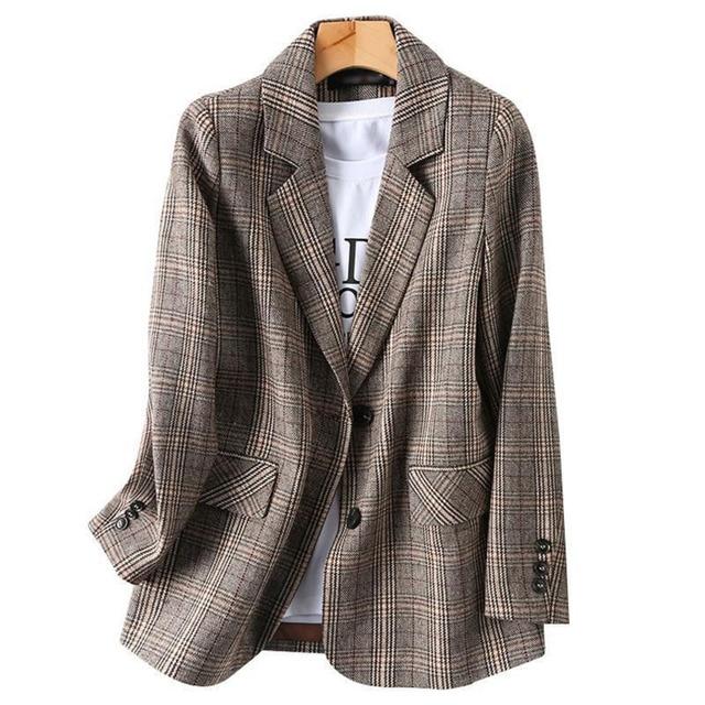 PEONFLY Vintage Single Breasted Office Ladies Plaid Blazer Long Sleeve Loose Plaid Coat Jacket Women Blazers Female 2021 6