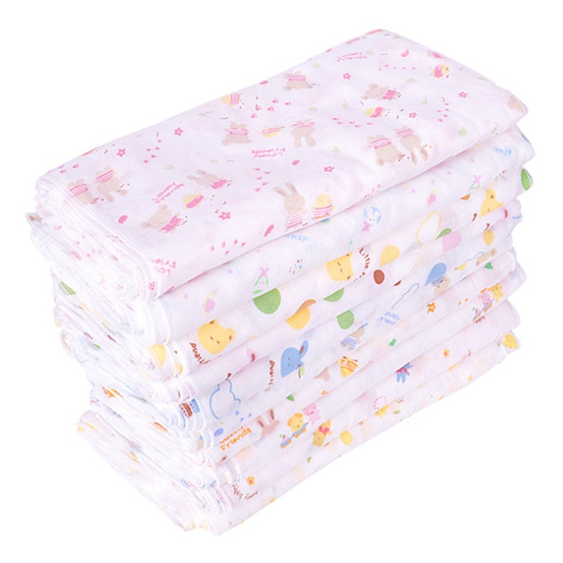1/5PCS 100% Cotton Gauze Newborn Baby Infant Cartoon Face Hand Bathing Towel Bibs Feeding Square Towel Handkerchief Color Random