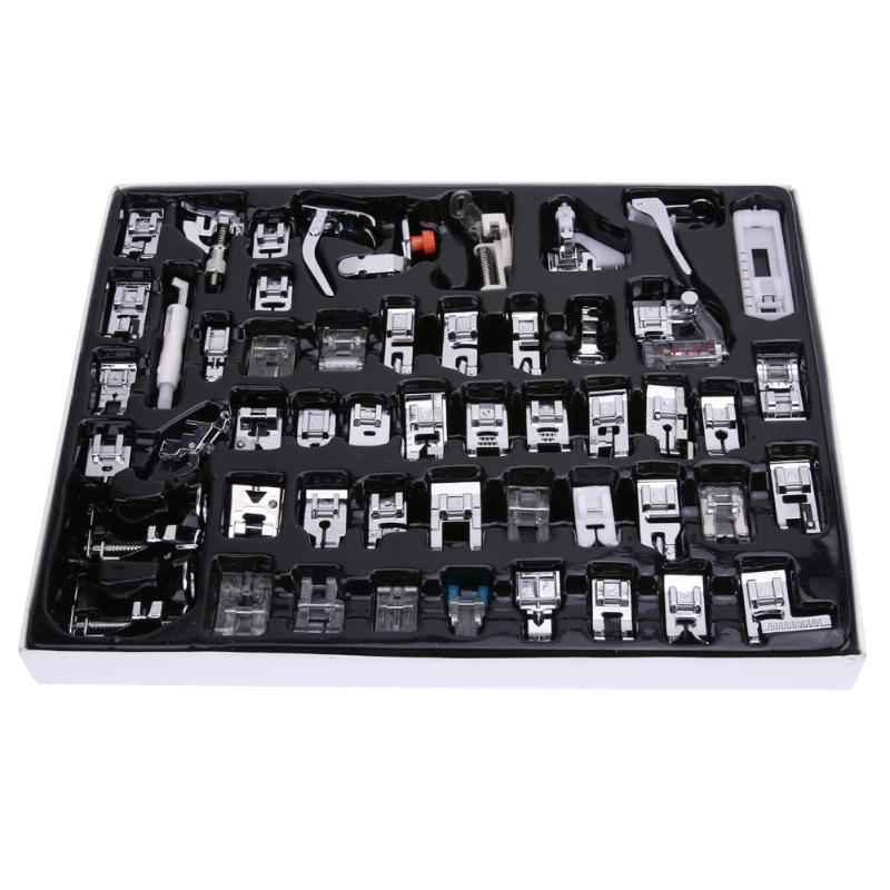 52 PCS Home Sewing Knitting Crochet Domestic Feet Presser Sewing Machine Sewing Accessories Prop Kits Sewing Cloths Tool