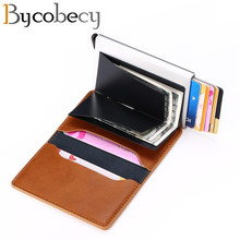 Bycobecy Smart Wallet for Men and Women Aluminum Box Credit Card Holder Mini Wallet Security RFID Holder PopUp Clutch Card Case(China)