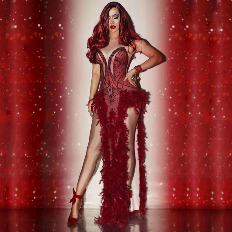 Red Christmas Rave Jumpsuit Dress Feather Queen Costumes Shawl Coat Singer Sexy Stage Outfit Dance Prom Model Show Outfit