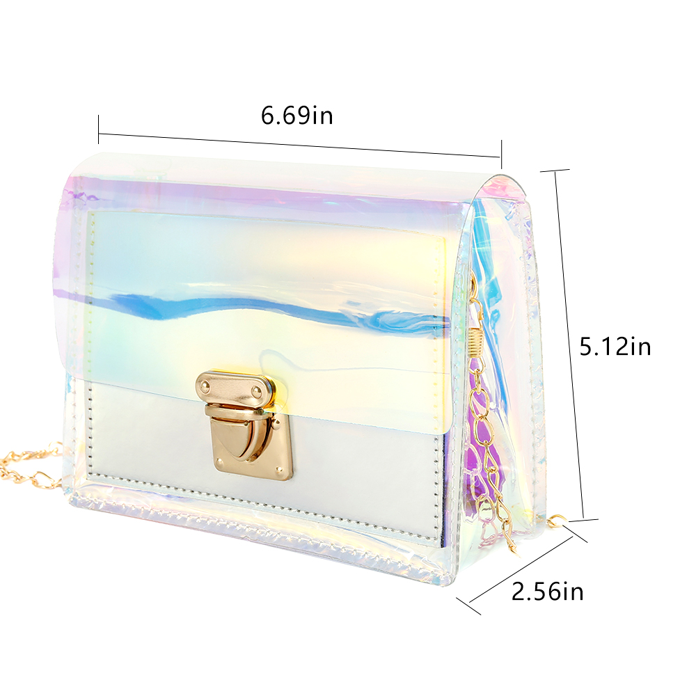2019 New Design Women Shoulder Bag Fashion Laser Transparent Crossbody Bags Messenger Shoulder Beach Bag in Top Handle Bags from Luggage Bags