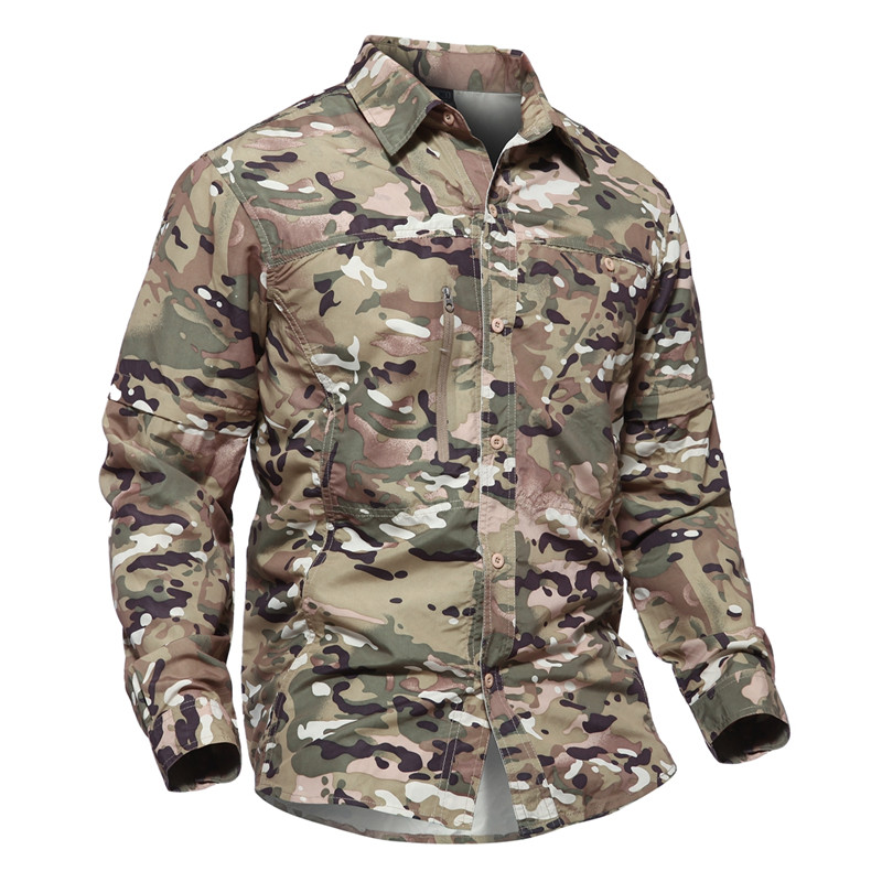 Camouflage Men Shirts Quick Dry Summer Shirts Detachable Long Sleeve Tops Military Tactical Sports Clothes Breathable Hunt Shirt