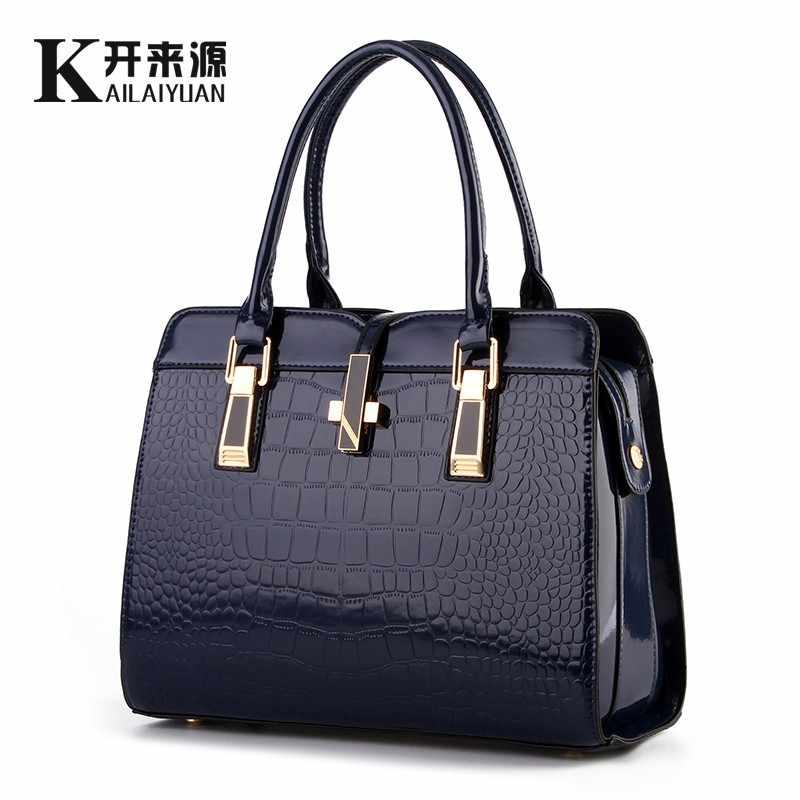 100% en cuir véritable femmes sac à main 2019 nouveau brillant en cuir verni crocodile motif mode épaule épaule dames sacs