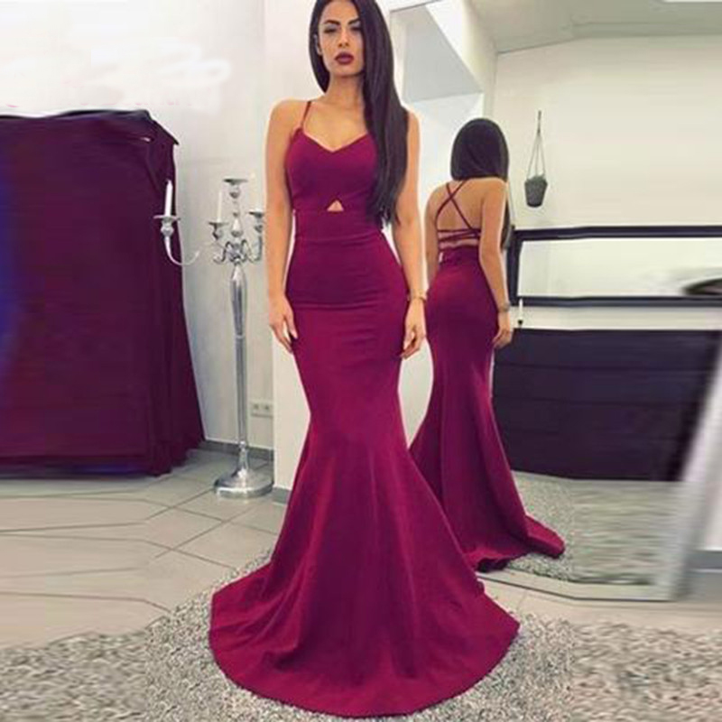Vestido De Festa Mermaid Evening Dress Long 2019 Satin Spaghetti Straps Party Gown Evening Gowns Formal Dress Robe De Soiree