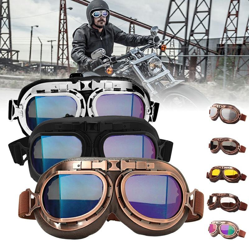 Retro Motorcycle Goggles Glasses Vintage Motorbike Classic Goggles for Pilot Steampunk ATV UTV Bike Copper Helmet Multi-color