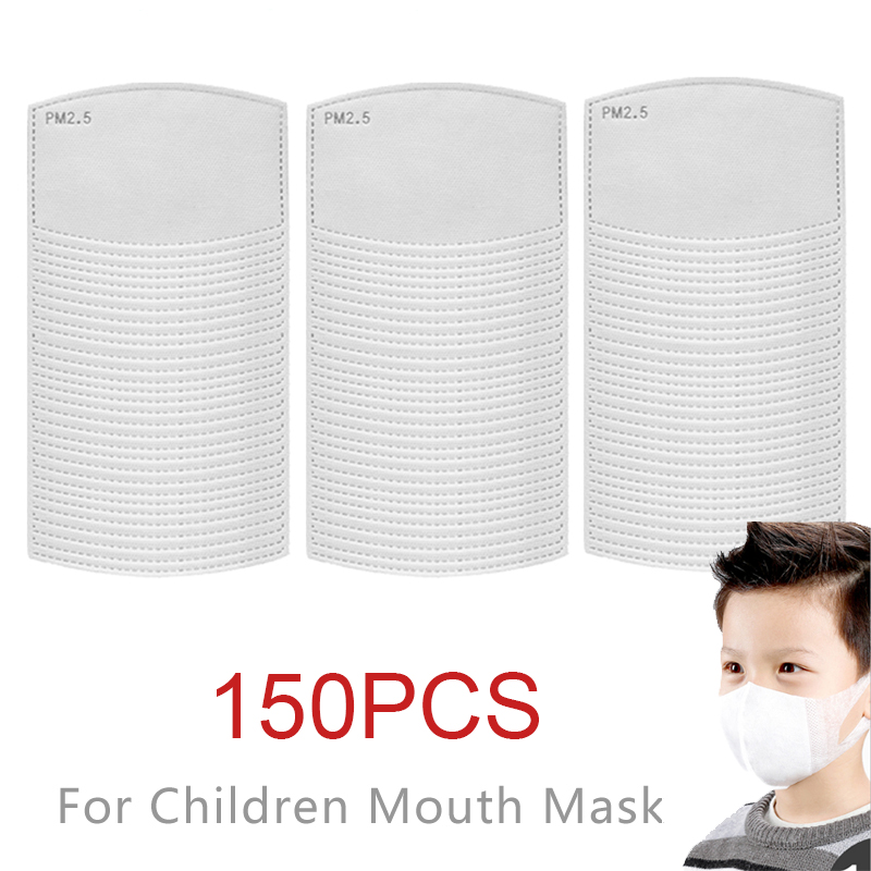 150Pcs/Set PM2.5 Anti Haze Mouth Mask Replaceable Filter-slice Non-woven Child Kids Activated Carbon Filter Ship Within 12 Hours