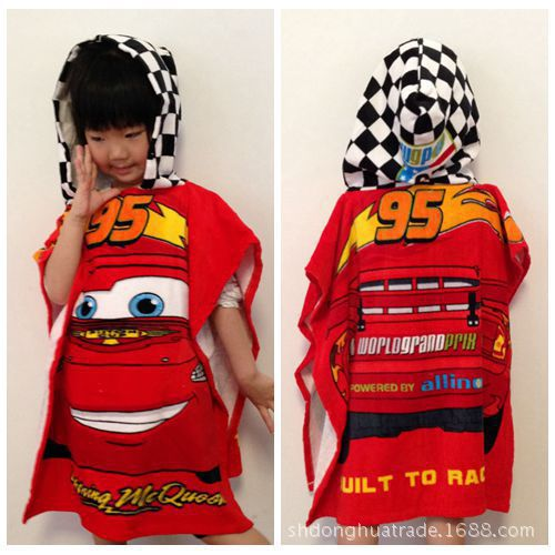 Kimi CHILDREN'S Bathrobes Cartoon Bath Towel, Pure Cotton Hydroscopicity Good Red 95 Car Printed
