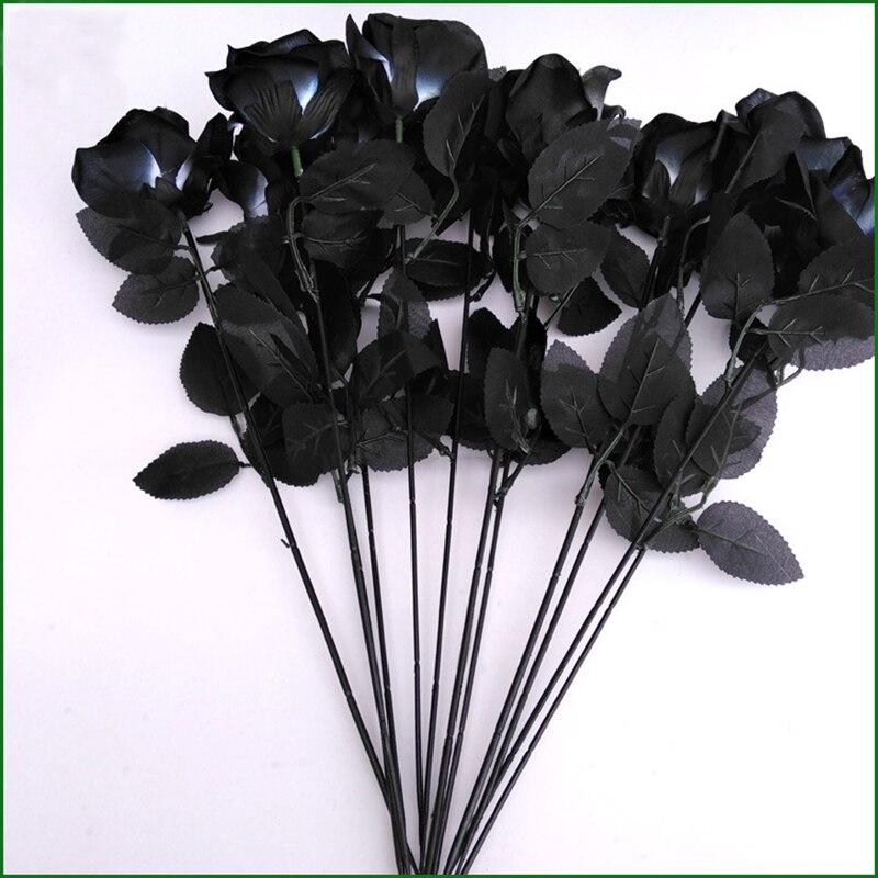 10 шт./лот, 45 см, Искусственные черные розы на Хэллоуин, готические цветы, свадебные, вечерние, искусственные цветы Dcor