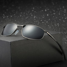 Marca gafas de sol polarizadas marco de Metal cuadrado clásico hombre gafas hombres gafas de sol de conducción UV400 tonos gafas de sol hombre