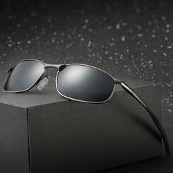 Óculos polarizado clássico masculino, óculos em metal quadrado clássico para dirigir com proteção uv400