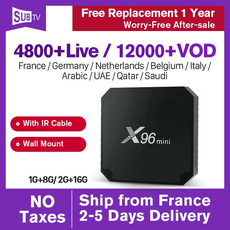 X96mini SUBTV IPTV Box French Arabic IPTV Subscription X96 mini Android 7.1 TV Box IPTV France Portugal Italy Spain UK IP TV-in Set-top Boxes from Consumer Electronics    1