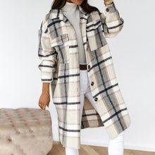 Women Jacket Overcoat Blends Plaid Woolen Female Warm Thick Checked Winter Streetwear