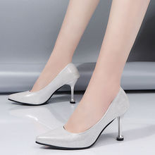 Shiny heels ladies working shoes summer loafers for women high Patent leather pumps female 2020