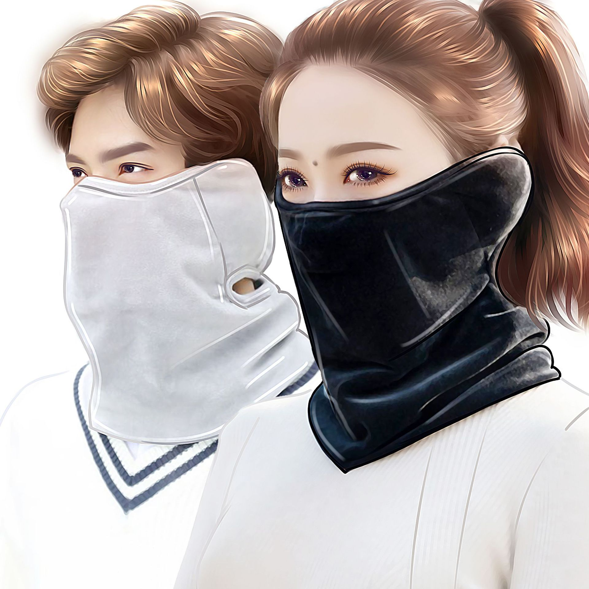 Autumn And Winter Fashion Men And Women Earmuffs Masks Thick Winter Warm And Cold Cover Large Face Three-in-one Mask