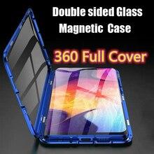 OPPO A72 جراب هاتف معدني مقاوم للصدمات مع امتصاص مغناطيسي ، جراب زجاجي مقوى مقاوم للصدمات لهاتف Oppo A72 ، 360