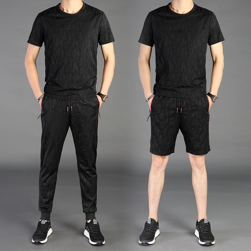 2019 Summer Leisure Suit Men Fashion Jacquard Leisure Sports Suit Large Size Short Sleeve T-shirt Summer Wear