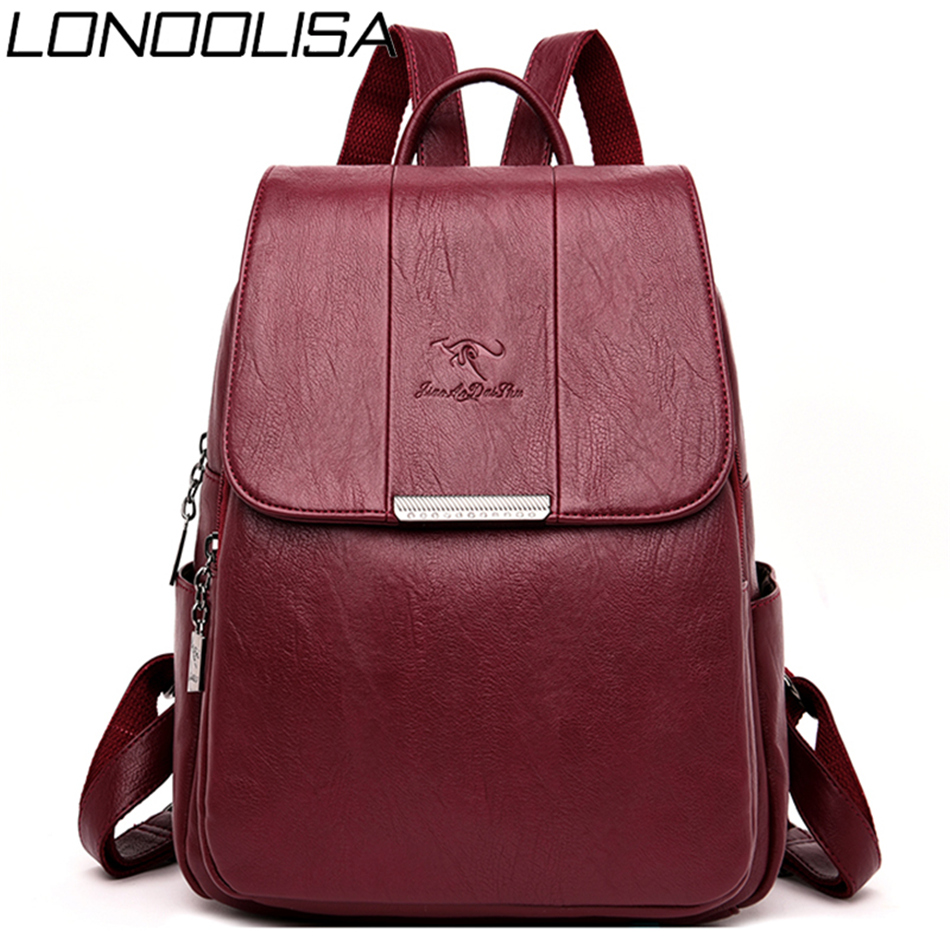 2019 Soft Leather Back Pack Bagpack Women Backpack School Bags For Teenage Girls New Sac A Dos Travel Backpack Mochila Feminina