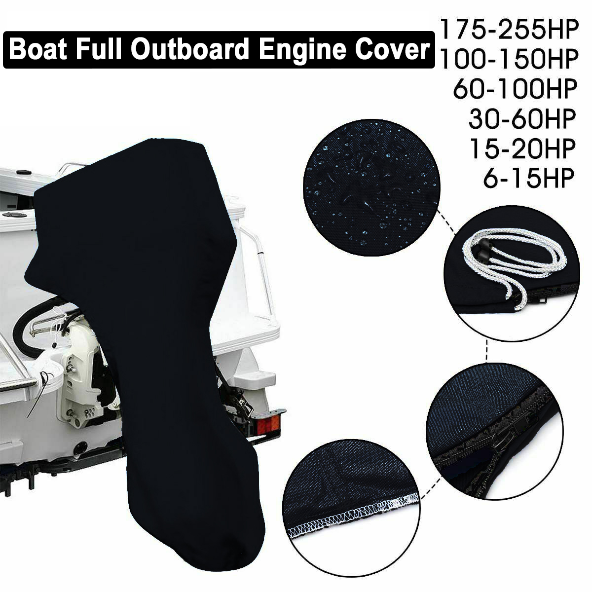 Outboard Engine Boat Full Motor Cover Engine Protection Waterproof for 6 - 225HP Outdoor Accessory Tools Black image