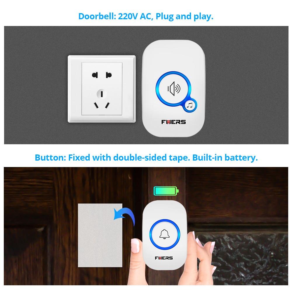 Image 4 - Fuers Home Wireless Doorbell Welcome Chime Doorbell Alarm 32 Songs Store Smart Doorbell EU UK US Plug Cordless Waterproof Button-in Sensor & Detector from Security & Protection