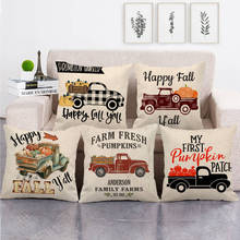 Thanksgiving pumpkin decorated pillow case sofa cushion decorated letter truck pillow case linen living room decorated pillow