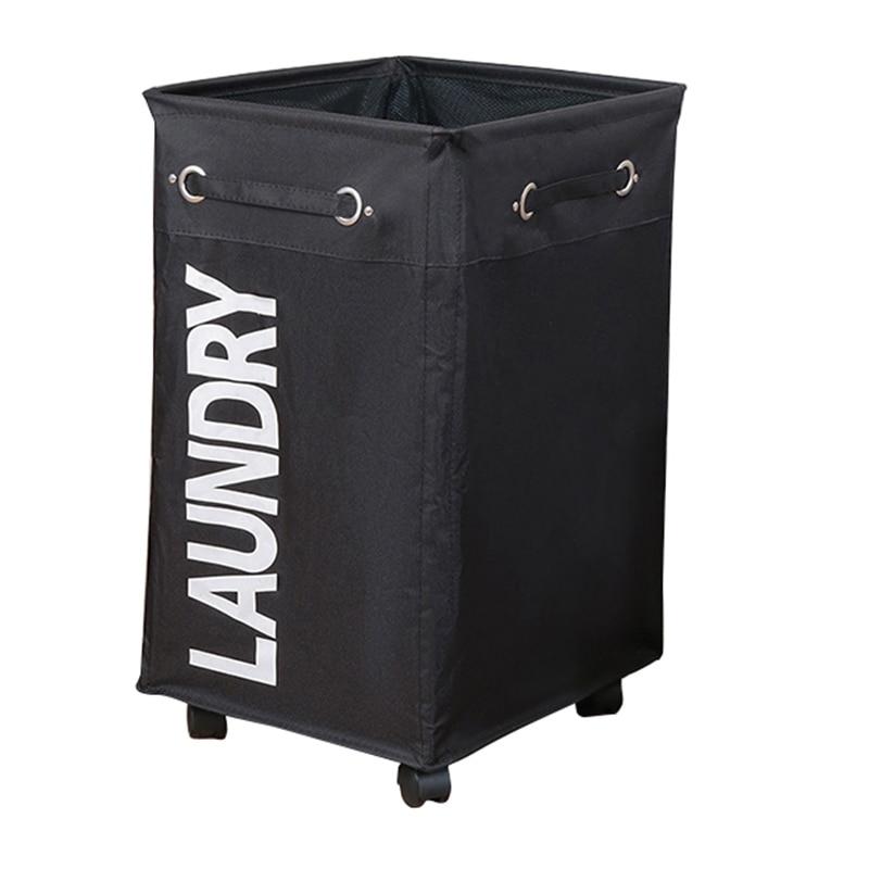 Ev ve Bahçe'ten Çamaşır Torbaları'de Dirty Clothes Laundry Basket Foldable Storage Basket with Wheel for Office Waterproof Oxford Bathroom Laundry Hamper Black title=