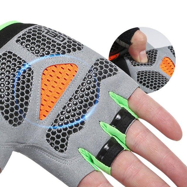 Silicone anti-derrapante anti-suor luvas de ciclismo masculino feminino metade dedo luvas respirável anti-choque esportes bicicleta luva d40 2