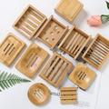 HEIßER Holz Natürlichen Bambus Seife Gerichte Tray Halter Lagerung Seife Rack Platte Box Container Tragbare Bad Seife Dish Lagerung Box