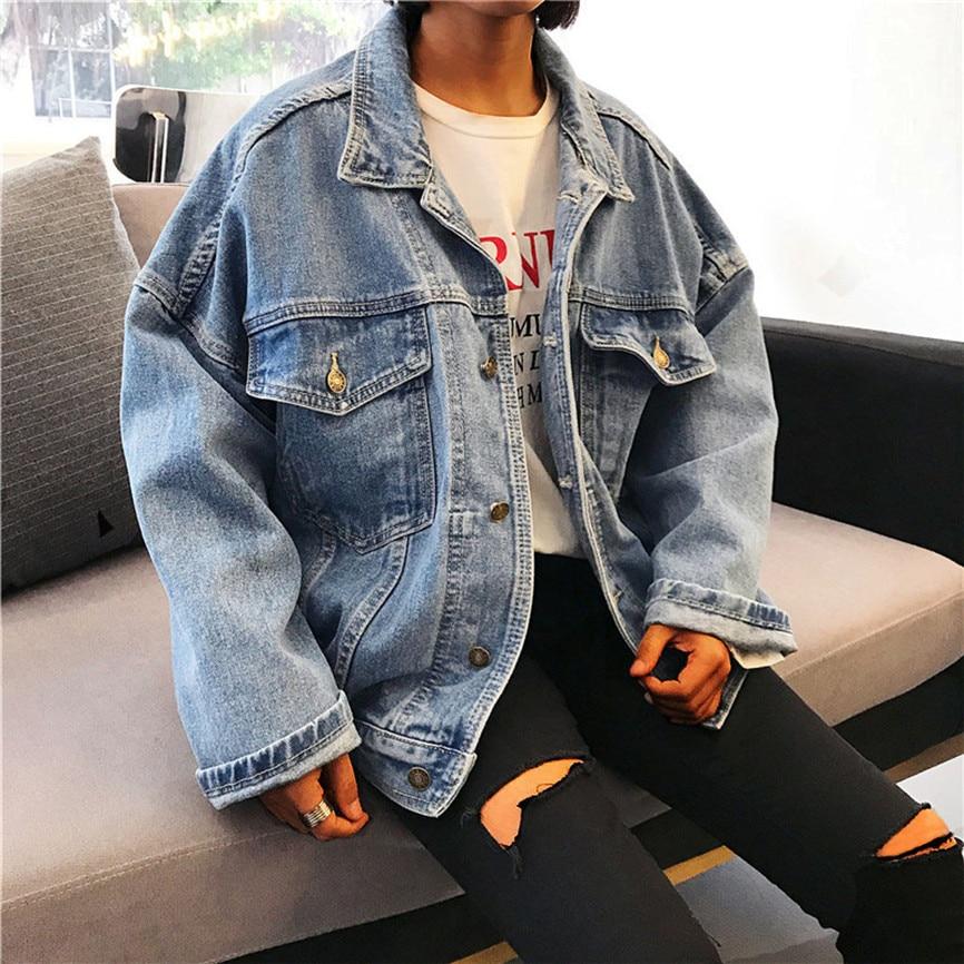 New Boyfriend Jeans Coat Retro Oversize Cowboy Women Denim Loose Casual Jacket