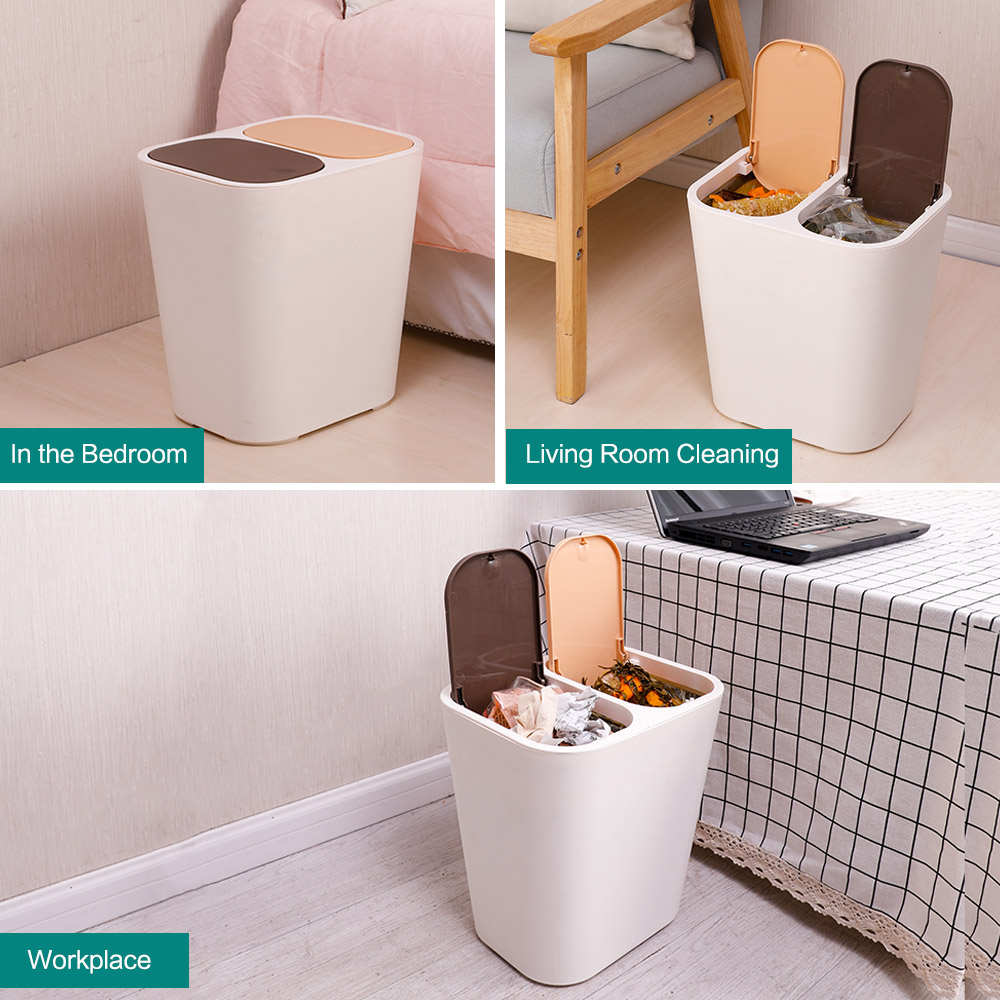 White Kitchen//Bedroom Waste Bin Garbage Can 2 Compartment Double Rubbish Trash Recycling 12L Garbage Sorting Trash Can