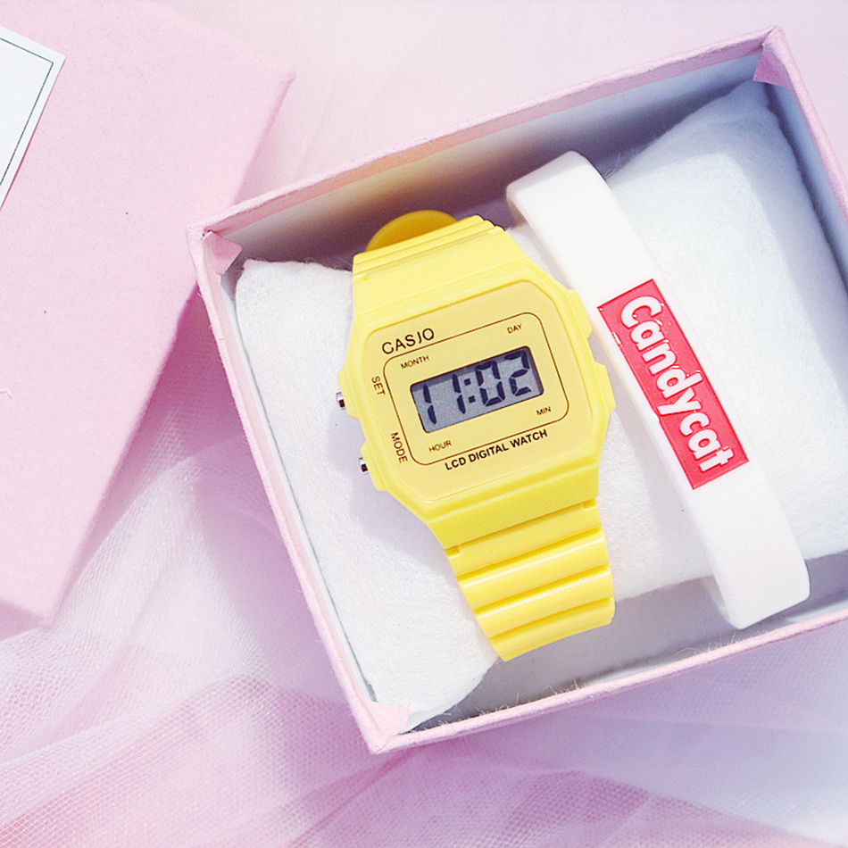 Candy Color Square Kids Digital Watch Teen Girl Watches Fashion Sports Women White Watch Korean Style Bracelet Gift Box Set 2019