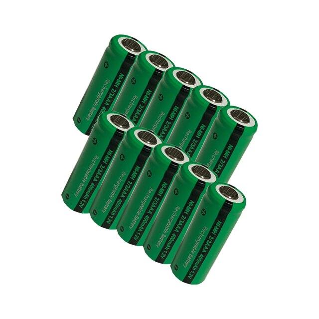 10 قطعة 2/3 aaa بطارية 400 mah 1.2 v نيمه 2 3 aaa قابلة للشحن بطاريات شقة أعلى ل الشمسية ضوء لعب