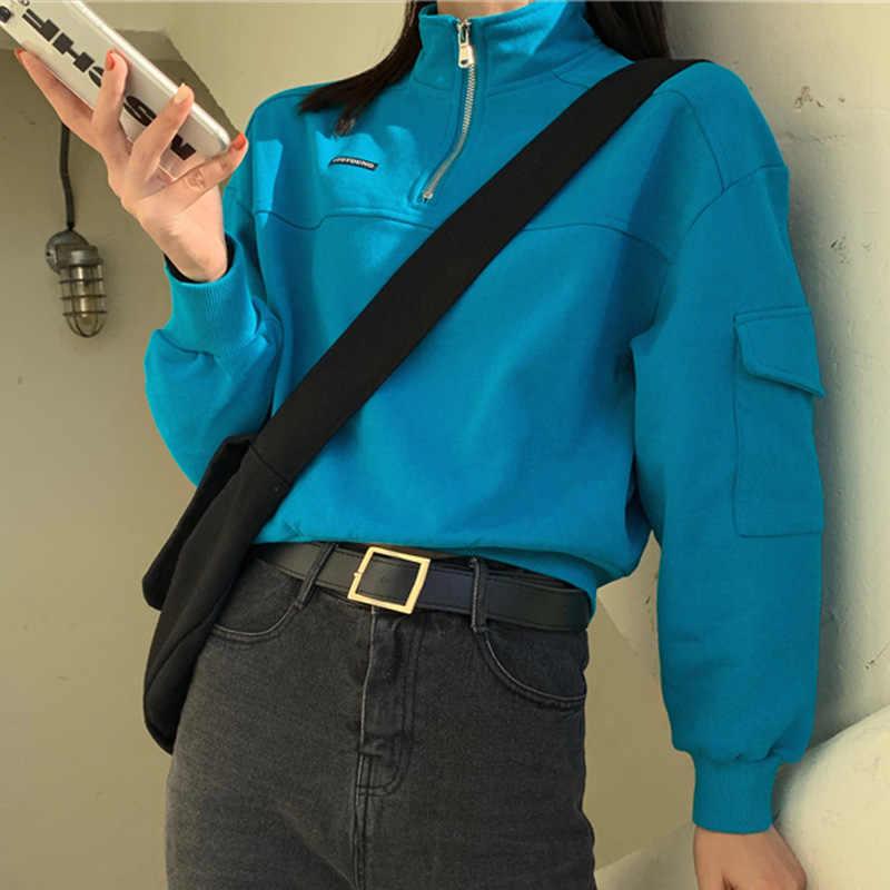 짧은 스웨터 여성 운동복 긴 소매 편지 터틀넥 지퍼 포켓 숙녀 스웨터 2020 봄 캐주얼 여성 탑스