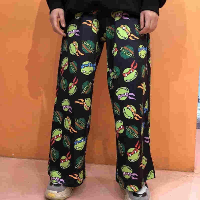 2020 nova retro dos desenhos animados impresso calças harajuku streetwear moda calças mulher homem hip hop elástico cintura larga perna calça