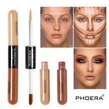 Phoera dupla cabeça 2 cor corretivo líquido fundação creme de longa duração clarear rosto contorno reparação bronzer maquiagem tslm1