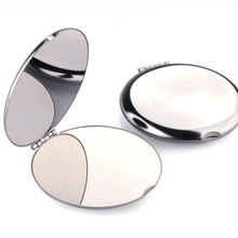 Portable stainless steel mini-mirror Womens portable folding metal European hand-held cosmetic mirror dressing