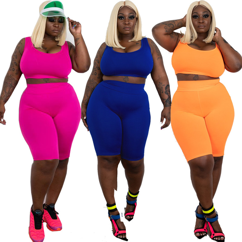 Plus Size 2 Piece Set Women Summer 2020 Sexy Sleeveless Solid Crop Top + Biker Shorts Two Piece Outfits Casual Joggers Suit Sets