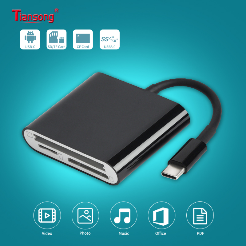 USB 3.0 OTG Cellphone Aux Adapter USB C Type C To SD TF CF Card 3 In 1 Camera Reader For Huawei Xiaomi One Plus  Samsung MacBook