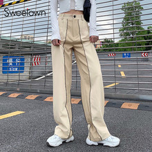 Sweetown Casual Loose Ladies Wide Leg Pants Contrast Stitch Striped Vintage 90s Streetwear High Waist Baggy Straight Trousers