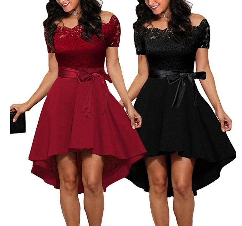 BacklakeGirls Plus Size Vestido Rojo Coctel Sexy Lace Split Joint Off Shoulder Cocktail Dress Robe De Cocktail Mi Longue