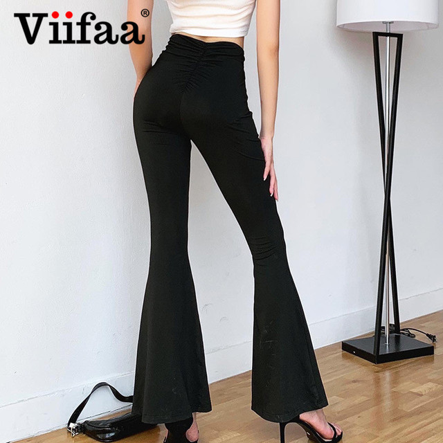 Viifaa Black Solid High Waist Skinny Flare Pants Women 2020 Ruched Back Slim Fit Femme Spring Stretchy Trousers 1