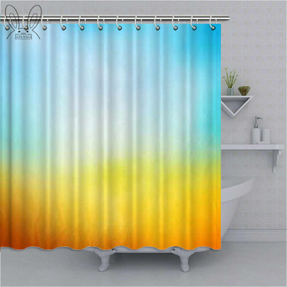 yellow and blue bathroom curtain surf waves ocean beach exotic dreamy gradient waterproof shower curtain polyester fabric sets