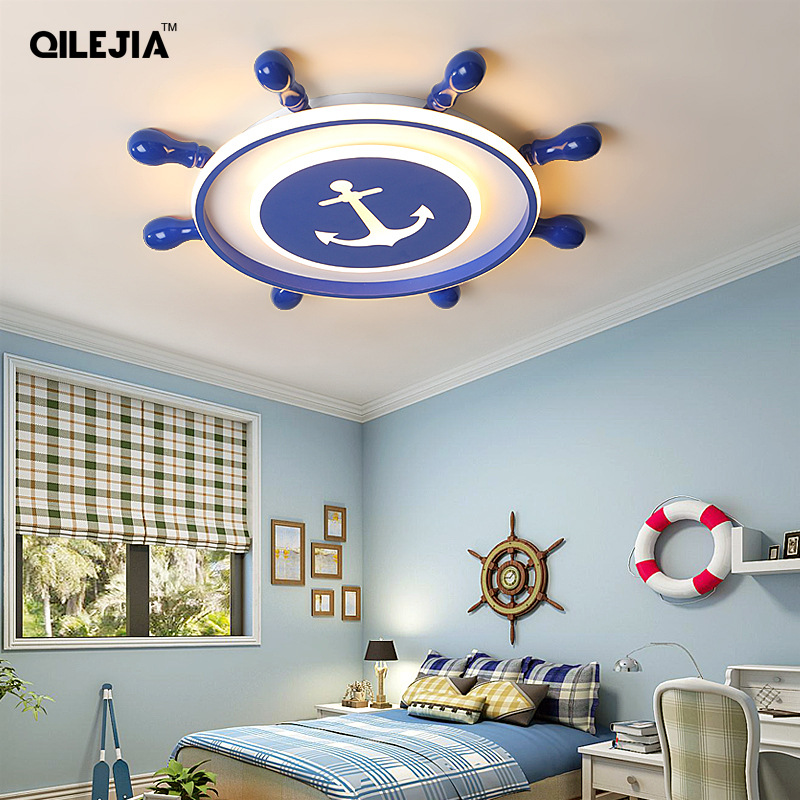 LED Ceiling Lights Captain America Children's Room Lights Nordic Simple Rudder Cartoon with Remote control  LED Ceiling Lights