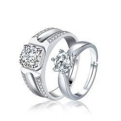 925 стерлингового серебра в форме сердца прозрачный CZ Простые Кольца для женщин обручальные ювелирные изделия, ювелирные изделия Пара