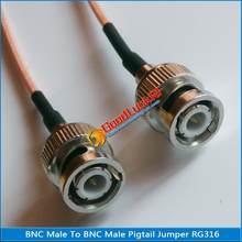 1x pces de alta qualidade q9 bnc macho para bnc macho bnc 2 conector macho duplo conector rf rg316 trança jumper estender cabo