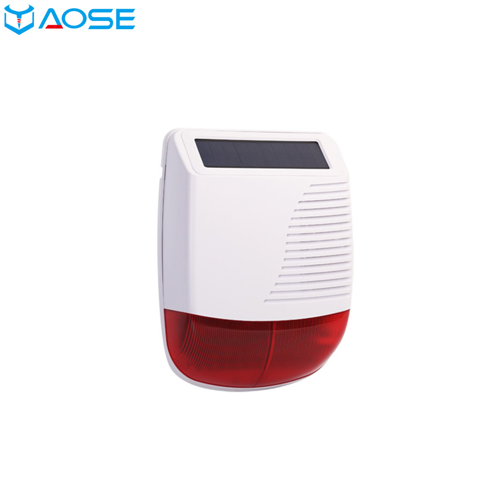 YAOSE Wireless RF 433MHz Outdoor Solar Powered strobe light Siren Waterproof flash siren can be used as an Alarm host