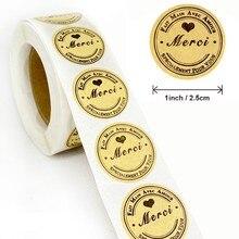 Étiquettes autocollantes en papier Kraft Fait Main Avec Amour, 1