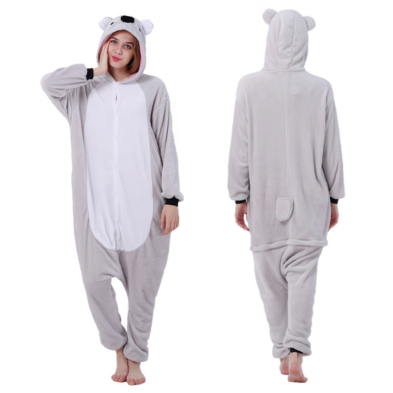 Adults Animal Pajamas Women Sleepwear Kigurumi All In One Pyjama Animal Suits Koala Cosplay Cartoon Hooded Pijama
