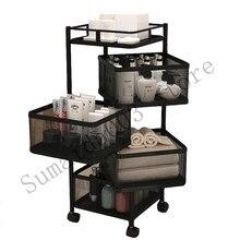 Estante de almacenamiento para cocina, anaquel giratorio multicapa para frutas y verduras, con ruedas, gran capacidad móvil